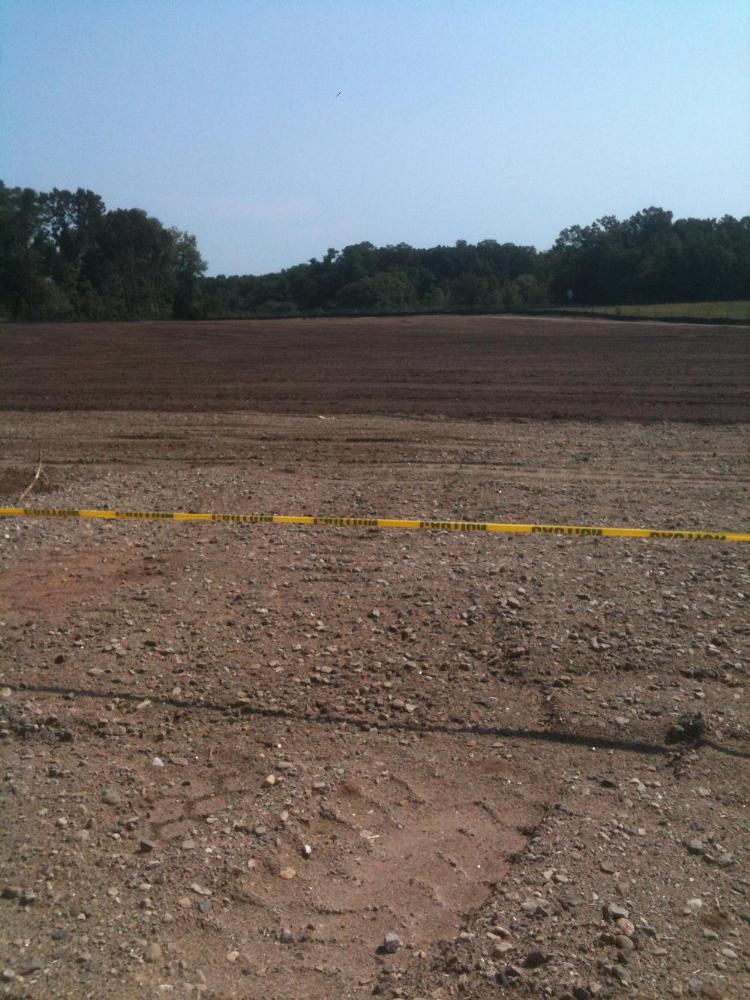 Construction at the Shoemaker Lane Solar Farm with caution tape