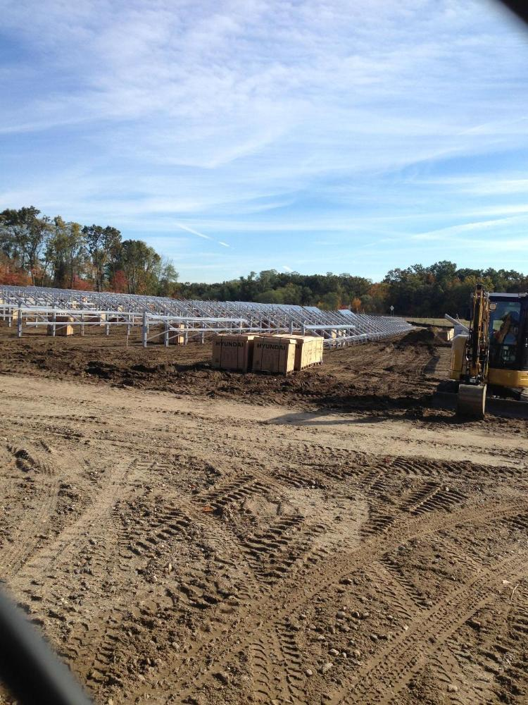 Solar panel base construction at the Shoemaker Lane Solar Farm