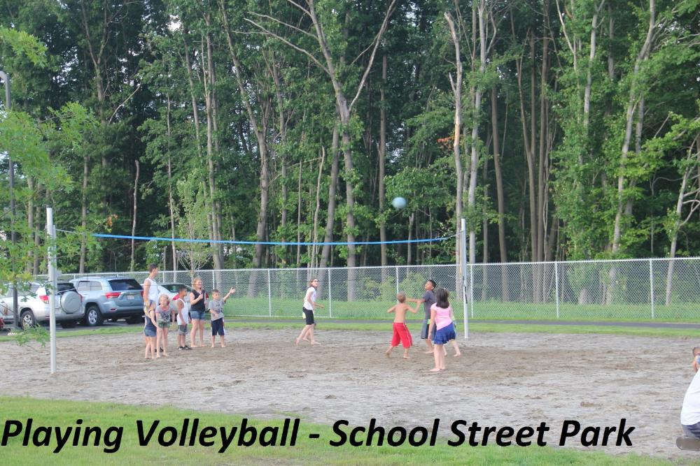 Playing Volleyball at School Street Park