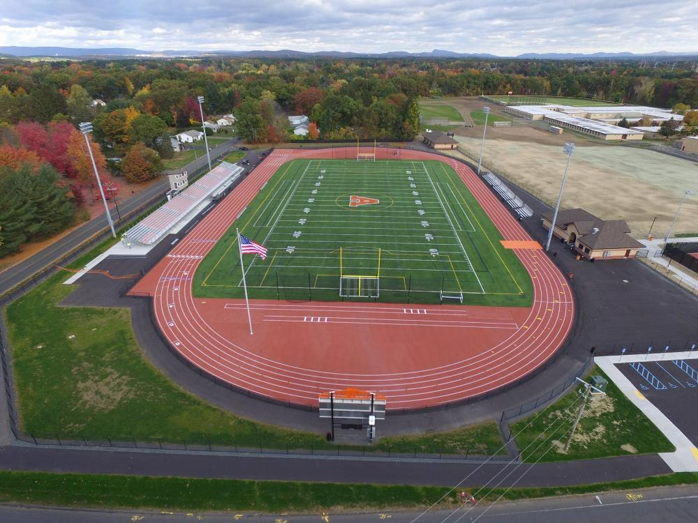 Aerial view of high school track completed
