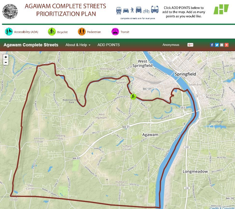 Agawam Complete Streets Wiki map