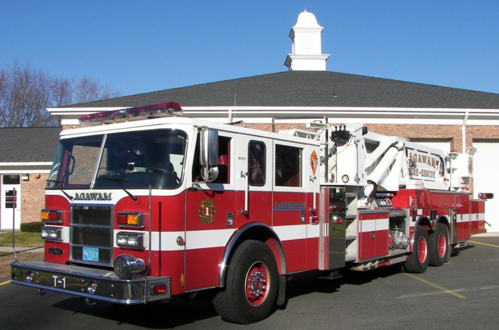 Truck 1 in front of fire station
