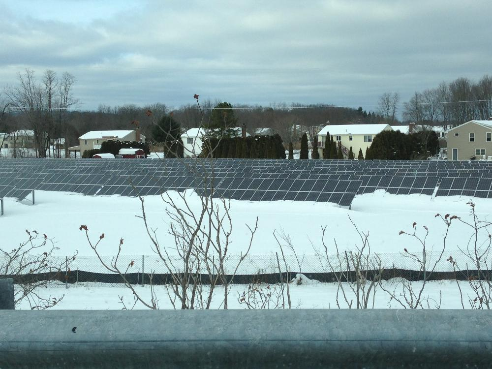 Close up of solar panels in the winter